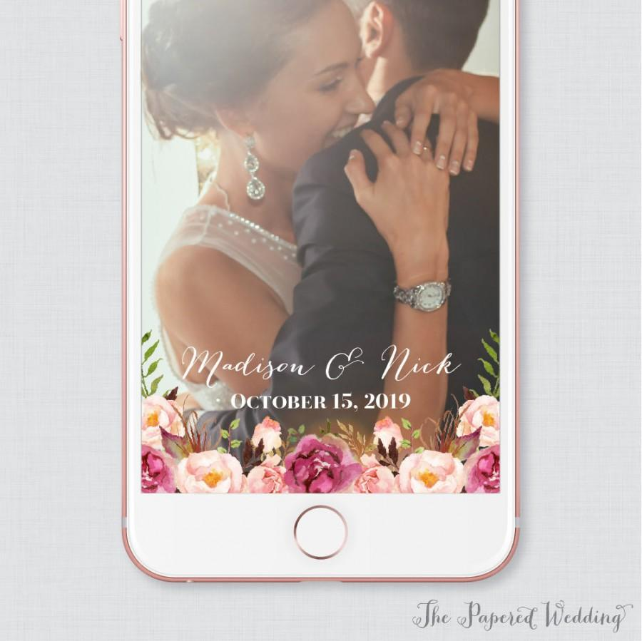 Hochzeit - Pink Floral Wedding Snapchat Filter - Rustic Pink Flower and Calligraphy Snapchat Geofilter Image - Wedding Snapchat Filter 0004