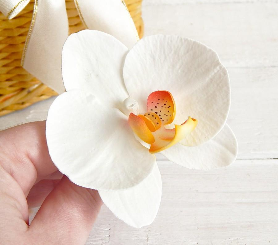 Floral orchid hair pin white orchid hair clip tropical flower floral orchid hair pin white orchid hair clip tropical flower wedding headpiece bridal accessory hawaiian flowers real touch orchids 1200 usd mightylinksfo