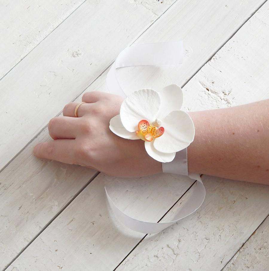 Prom Wrist Corsage White Orchid Corsage Floral Bracelet White