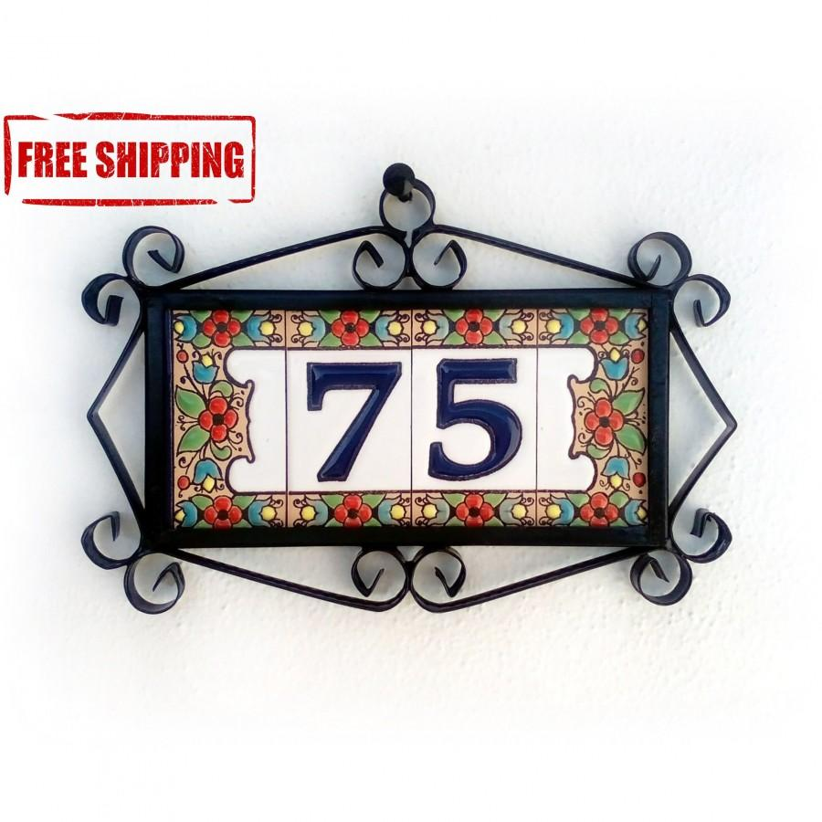 Modern House Numbers, Address Plaques, House Number, House Number Tiles,  Front Porch Decor, Rustic Address Sign, Front Door Sign 2 Digits   $48.77  USD