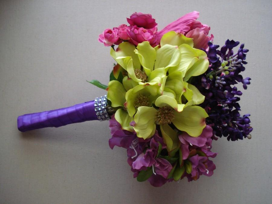 زفاف - Bridal Bouquet, Purple, Fuchsia and Green Bouquet, Orchid Color Bridal Bouquet, Purple Orchid Wedding Bouquet