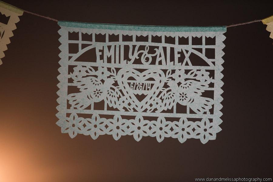 Свадьба - Wedding garlands - DOS PALOMAS personalized papel picado, custom color - sets of 2