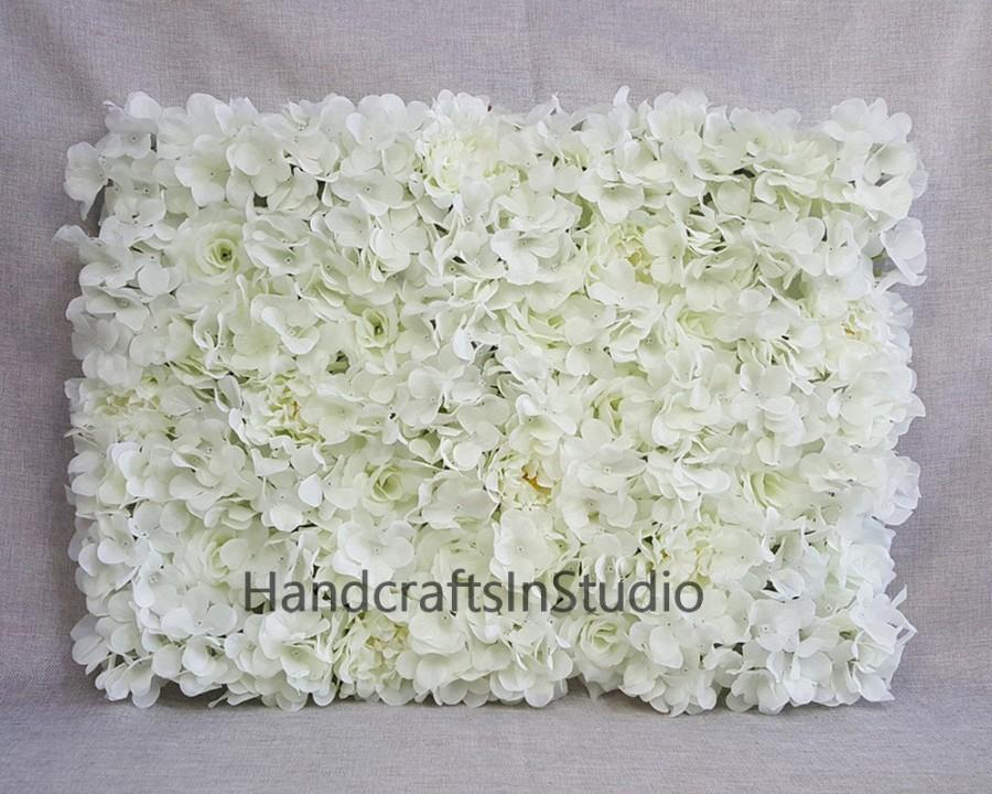 Wedding - Cream White Flower Wall Backdrops Silk Rose Hydrangea Peony Floral Wedding Background For Bridal Photography Backdrops Panels 40*60cm