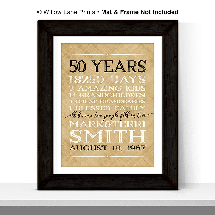 50th Anniversary Gift For Pas 50 Year Golden Wedding
