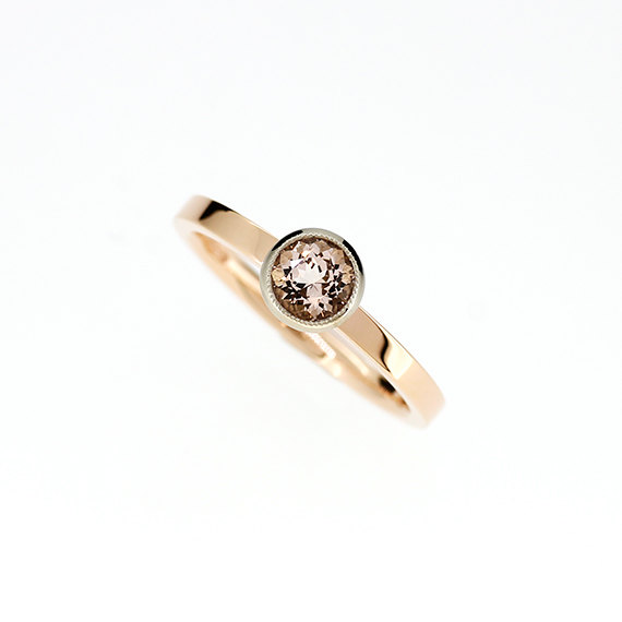 Mariage - 10% SALE, size 6 to 6.25, Morganite engagement ring, solitaire, rose gold, white gold, two tone engagement, morganite, peach engagement ring