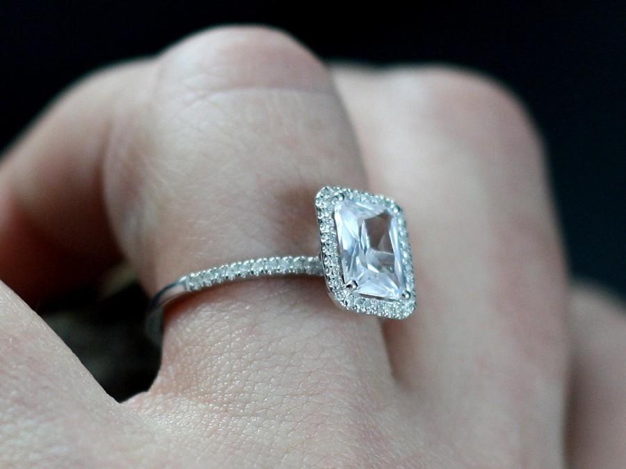 48ce19542dfd0 White Sapphire Engagement Ring Emerald Cut & Diamonds Halo Ione ...