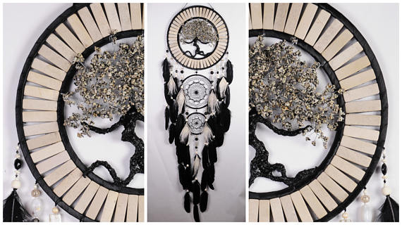 Wedding - Black Beige Dream Catcher jasper Tree of life beige Dreamcatcher agate Dreamсatcher wall handmade idea gift birthday marble dream catchers