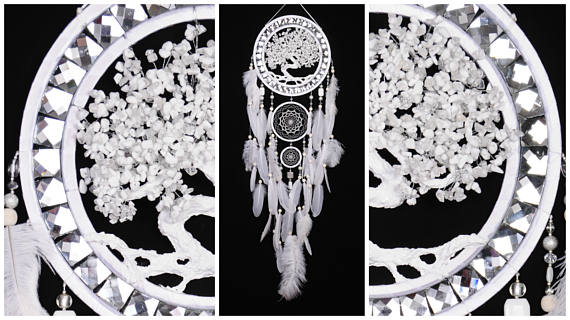 Wedding - Wedding Dream Catcher White Tree of life Dreamcatcher white agate Dreamсatcher wall handmade idea gift birthday dream catcher Wedding gift