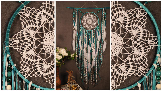 Hochzeit - Turquoise Dreamcatcher Boho Dream Catcher Large crochet dreamcatcher gift wedding ceremony photo backdrop Dreamcatcher Bohemian handmade