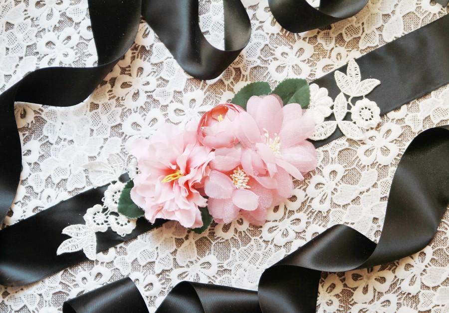 Mariage - Wedding Sash Belt Bridal Sash Belt - Wedding Dress Sashes Belts - Rustic Sash Belt Flower Sash Belt Floral Belt Flamingo Pink Blush Flowers