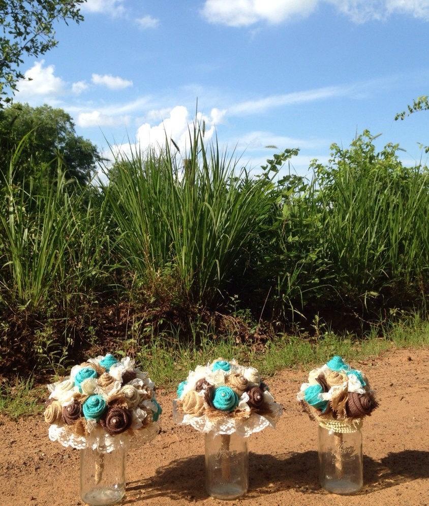 زفاف - Jade / Aqua / Turquoise Burlap Bouquet, Rustic, Burlap and Lace Bridal, Bridesmaid Bouquets, Custom Wedding Arrangements with Fabric Flowers