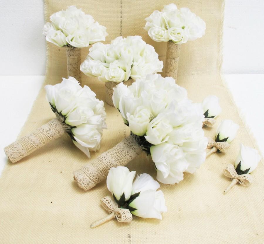 Wedding Bouquet Set 9 Pieces Set White Silk Roses Bleached Burlap ...
