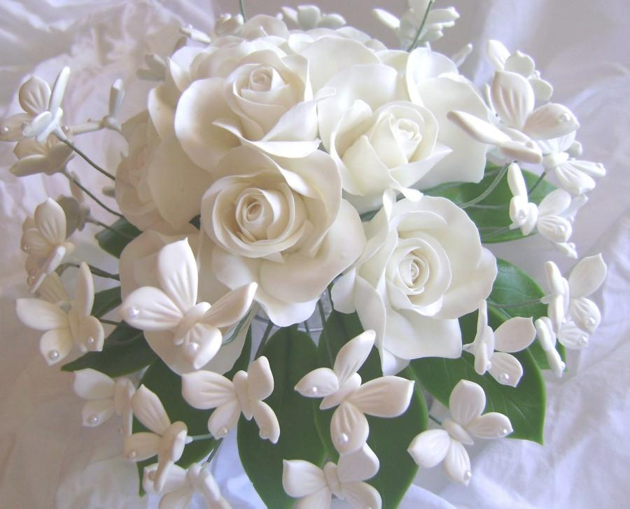 Wedding - Wedding Bouquet Clay White Rose White Butterflies Handmade Clay Bridal Bouquet