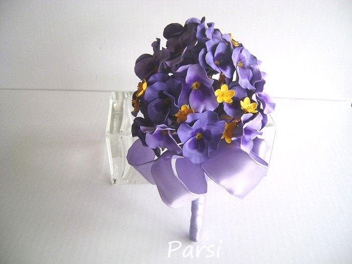 Свадьба - Purple Pansy Bridal Bridesmaid Bouquet Spring Pansies Wedding Nosegay