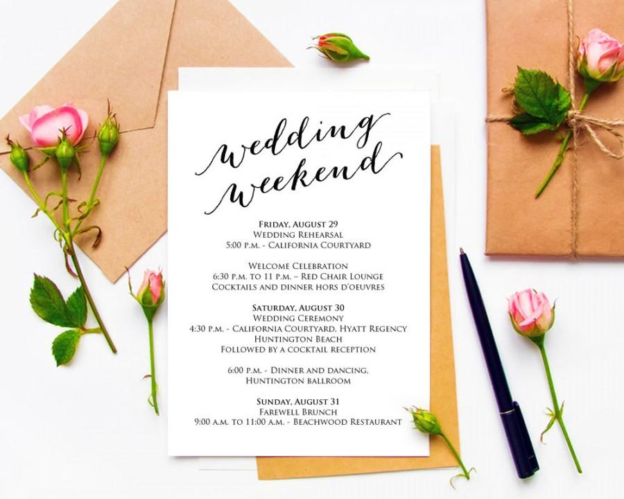 Mariage - Wedding Weekend Itinerary Details Card Insert, Wedding Information Card Template, DIY Template, Printable Wedding Card Templates #BT104