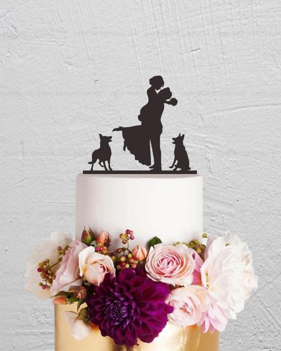 Свадьба - Wedding Cake Topper,Bride And Groom Cake Topper With Dog,Couple Cake Topper,Custom Cake Topper,Dog Cake Topper,Rustic Cake Topper