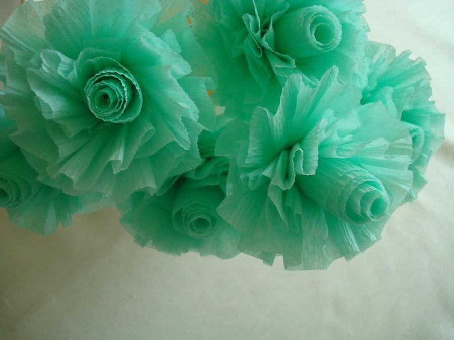 زفاف - Pale Green Crepe Paper Roses, Lime Sherbet, 7 Pale Mint Green Wedding Crepe Paper Roses, Art Deco Stylized Flowers