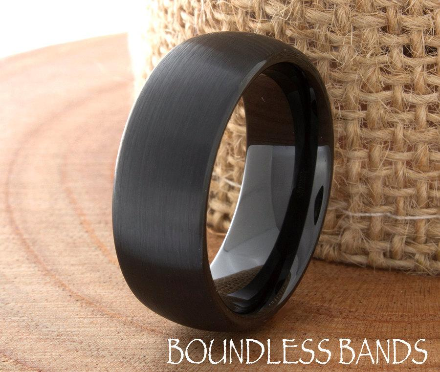 Mariage - Wedding Band Tungsten Ring Customized Any Design Laser Engraved Ring Mens Tungsten Ring Black Dome New Modern Classic Mens Band 8mm Brushed