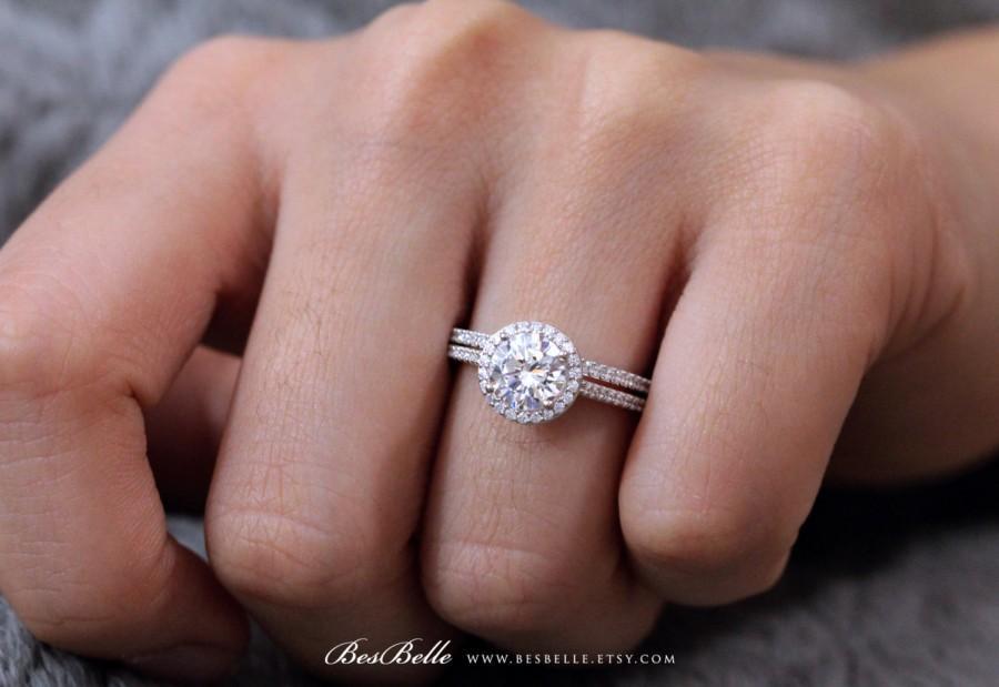 Wedding - 2.13 ct.tw Halo Bridal Set Ring-Brilliant Cut Diamond Simulant-Engagement Ring W/ All or Half Eternity Band Ring-Sterling Silver [0754-2]