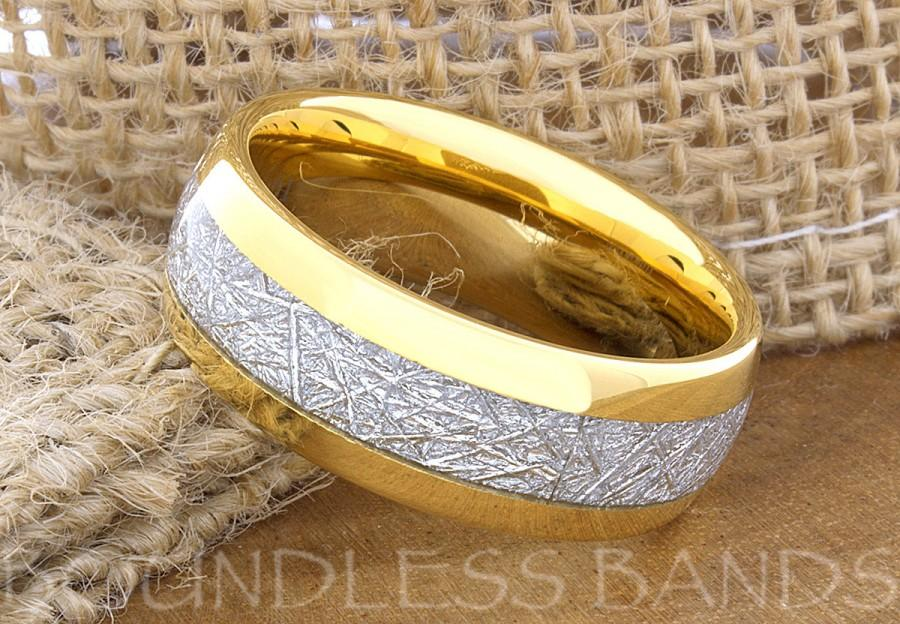 Wedding - Tungsten Wedding Ring Band Meteorite Ring Mens Women's Wedding Ring Anniversary Ring Dome 8mm Yellow Gold 18k Matching Ring Set Perfect Gift