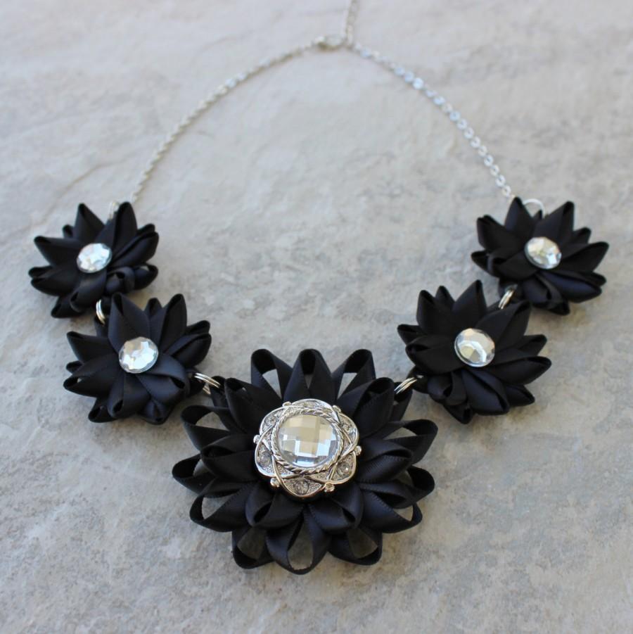 Wedding - Black Statement Necklace, Black Flower Necklace, Black Necklaces, Prom Jewelry, Wedding Jewelry, Black Bridesmaid Jewelry, Black Flowers