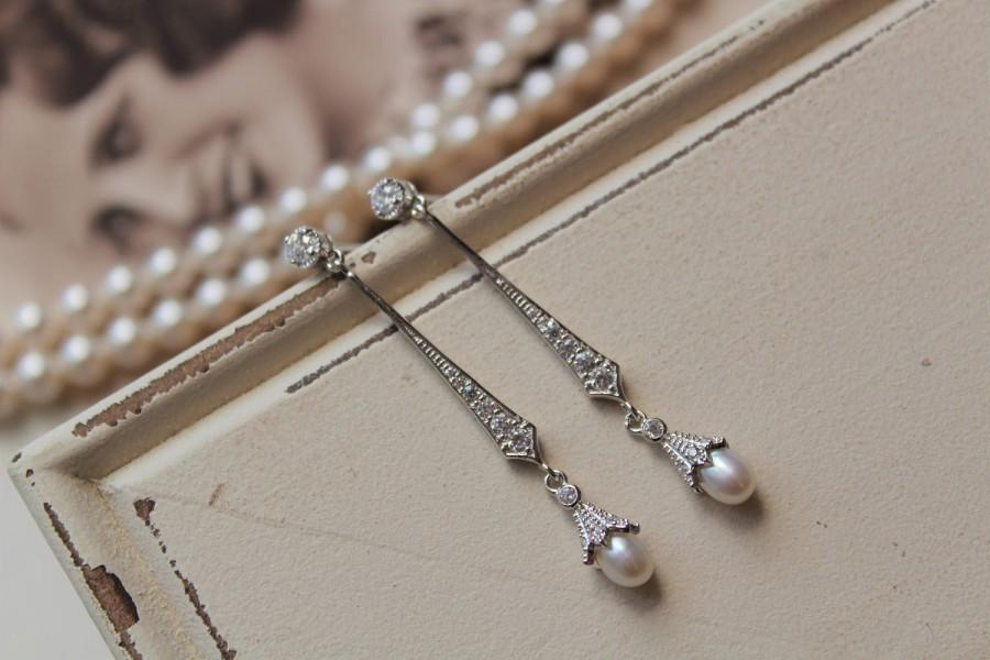Mariage - Art Deco Earrings , Vintage Style Crystal Pearl Earrings, Bridal Earrings,  Wedding Earrings,  Pearl Drop Earrings,  Stud Earrings