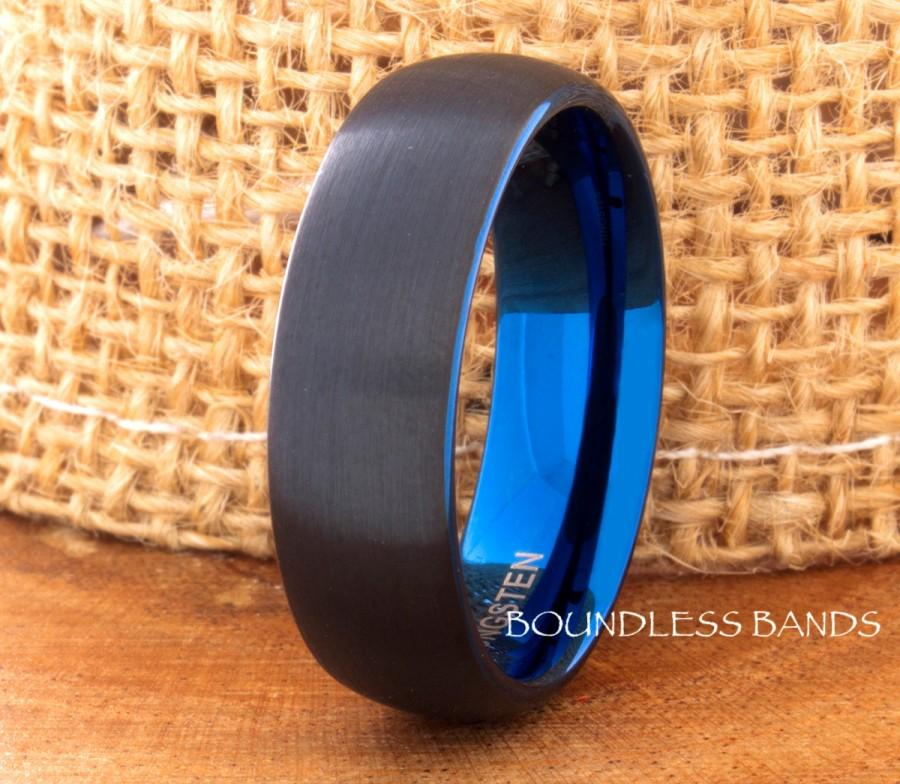 Wedding - Tungsten Wedding Band Black Blue Two Tone Dome Tungsten Band Ring 7mm Mens Womens Tungsten Ring Anniversary Promise His Hers Comfort Fit New