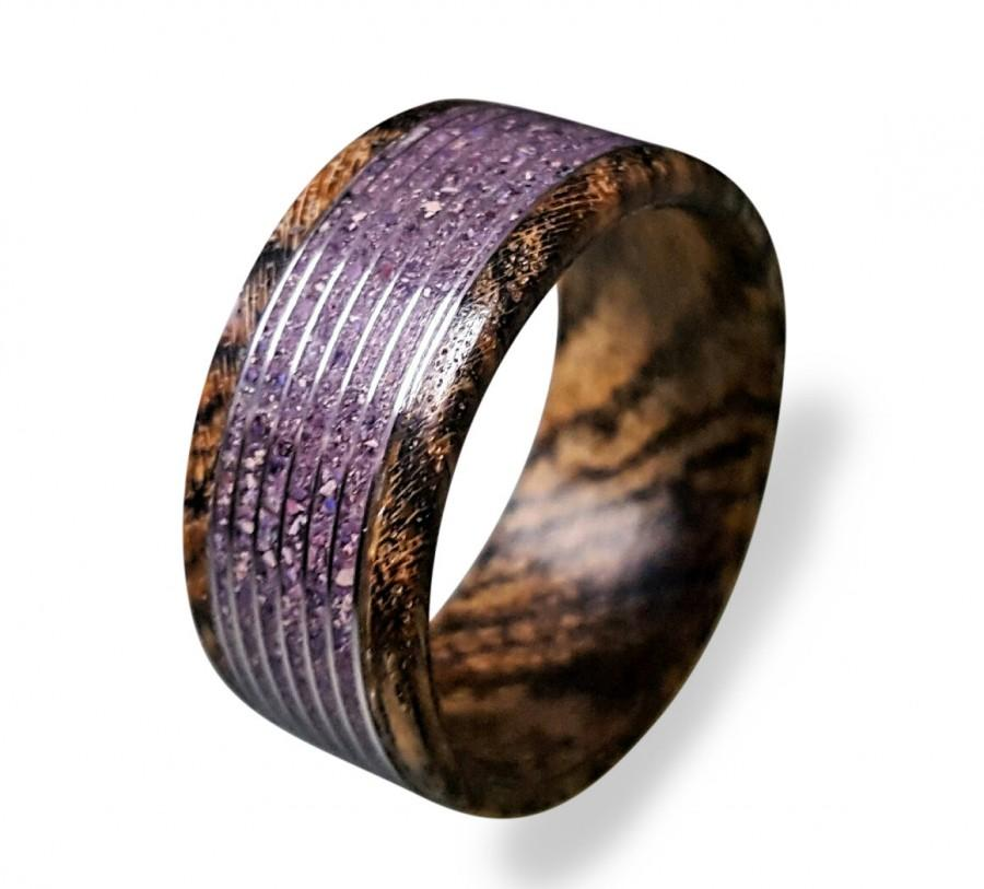 Mariage - Bocote Wood Ring with Amethyst Inlay, Amethyst Ring, Threaded Pattern Ring