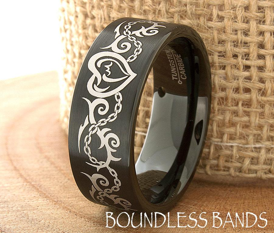 Mariage - Mens Tungsten Ring Tattoo Design Customized Tungsten Band Ring New Design Ring Modern Fashion Tattoo His Laser Engraved Wedding Band Ring