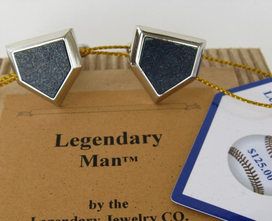 Mariage - Cufflinks, Fenway Park cufflinks, Home Plate Jewelry + Baseball cuff links, Red Sox cufflink,  wedding cufflinks,  Legendary Groomsman gifts