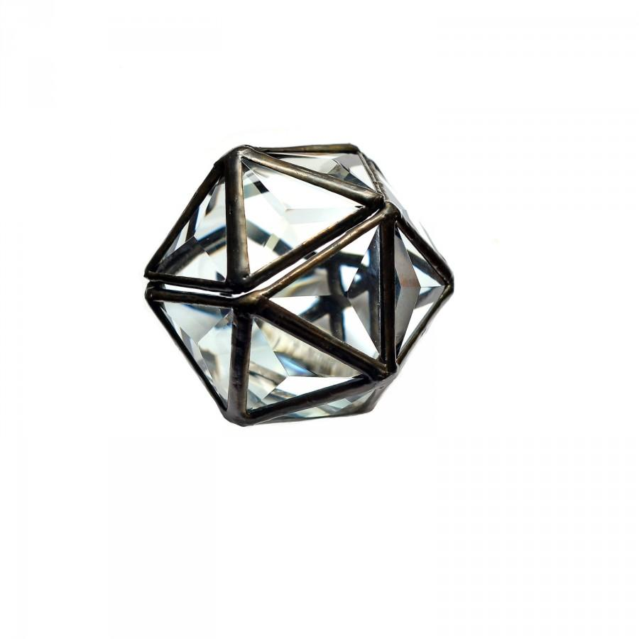 Glass Ring Box Bearer Wedding Hinged Bridal BoxGlass Display BoxGeometric Faceted Triangle Icosahedron
