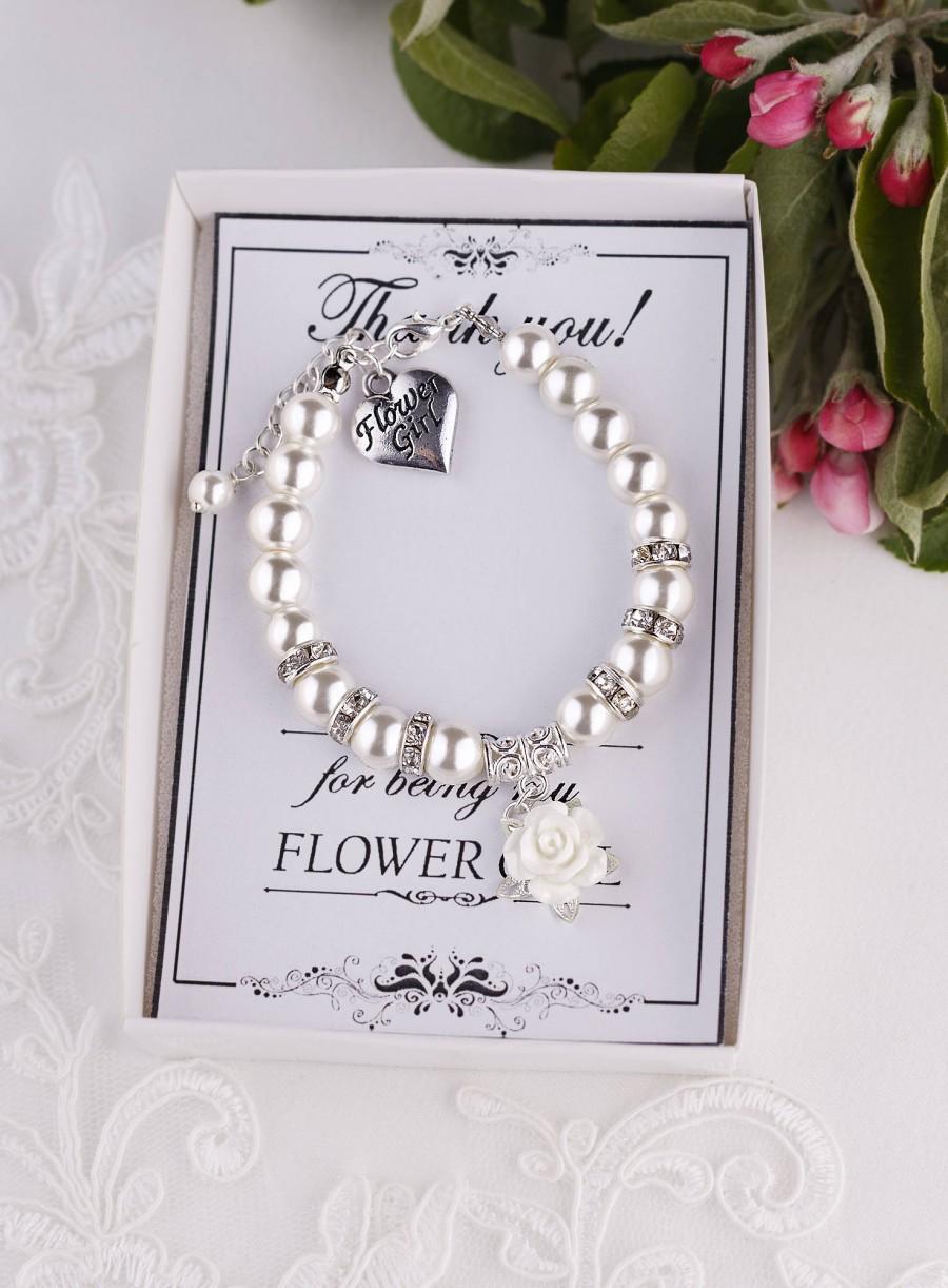 Wedding - Flower Girl Bracelet Flower Girl Gift Ideas Flower Girl Jewelry Child Bracelet Little Girl Bracelet Ivory Pearl Bracelet will you be my
