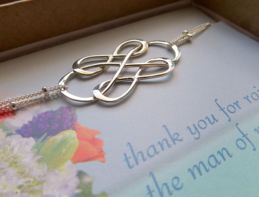 Mariage - Mother of the groom gifts, triple infinity bracelet, mother of the groom jewelry & card, unique sterling silver bracelet, mother in law