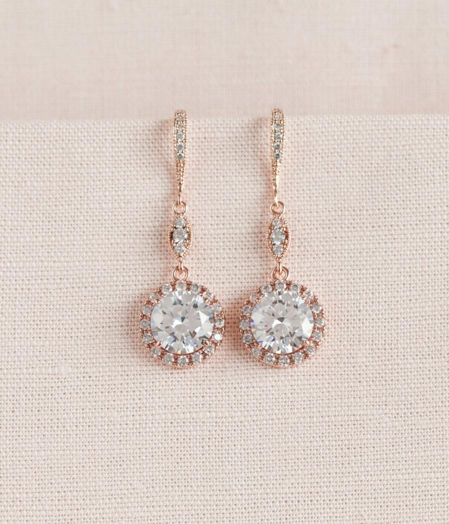 Wedding - Rose Gold Bridal earrings, Round Halo Wedding Earrings, Crystal Wedding earrings, Bridesmaid jewelry, Reese Long Dangle Earrings