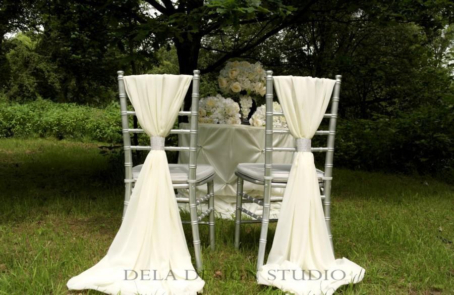 Свадьба - 2 x Wedding Chiffon Chair Sash ~ White/Cream - Wedding Chair Decor - Chiavari Chair Cover Sash - with FREE sparkly Wrap !