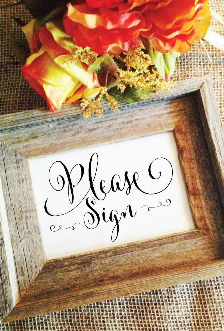 Hochzeit - please sign wedding sign wedding decor (Frame NOT included)