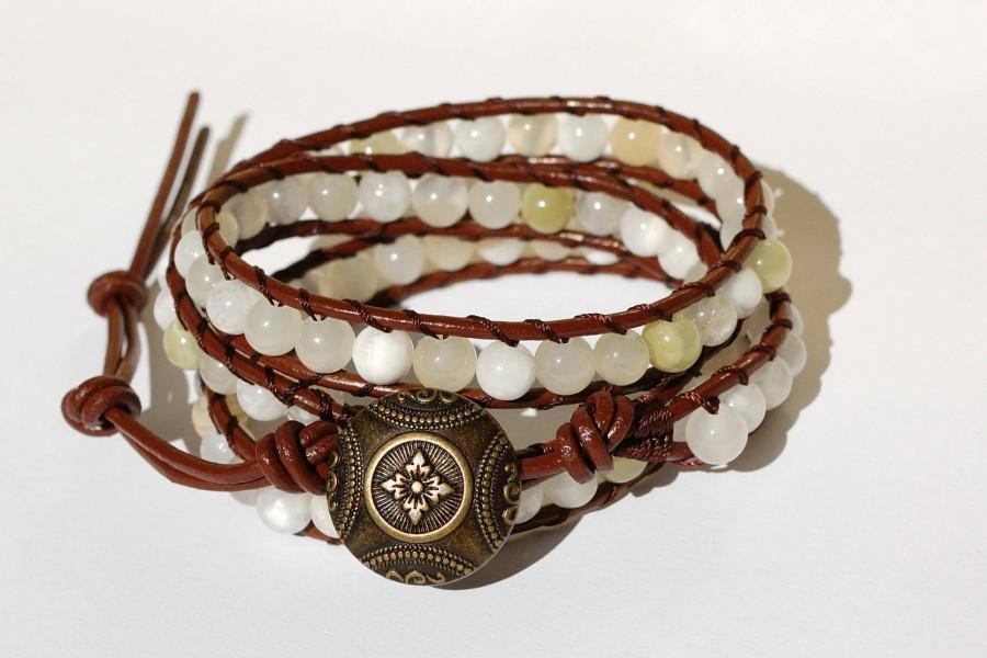 Wedding - Leather bracelet Birthday gift for men gift for women bracelet Leather Wrap Bracelet Onyx Bracelet Natural stone Bracelet Healing bracelet