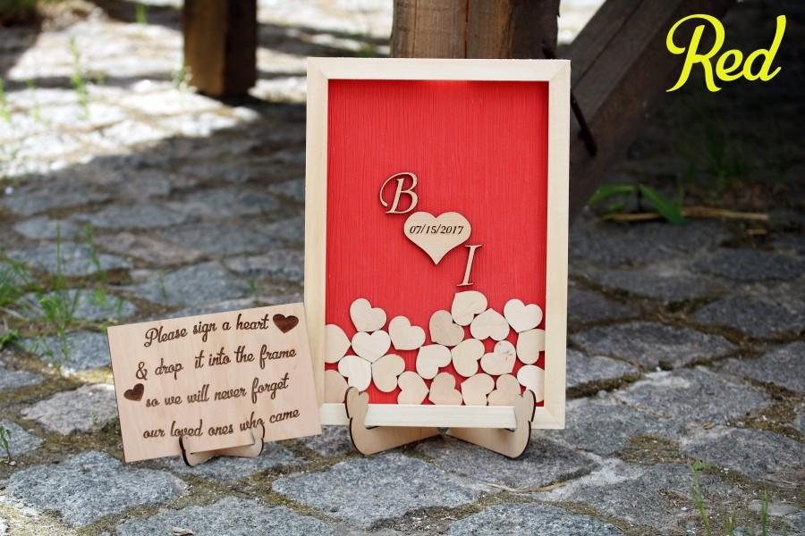 Red wedding sign guest book alternative Wooden heart Rustic wedding  guestbook Heart guestbook frame Guest book drop box Initials guestbook a4405b56b752