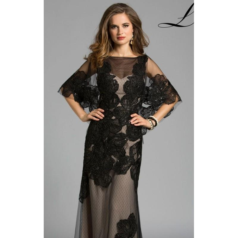 زفاف - Black/Nude Floral Embellished Gown by Lara Designs - Color Your Classy Wardrobe