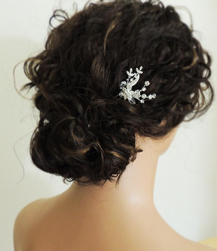 Hochzeit - Small crystal rhinestone wedding hair pin, flower bridal hair accessory, wedding hair accessory