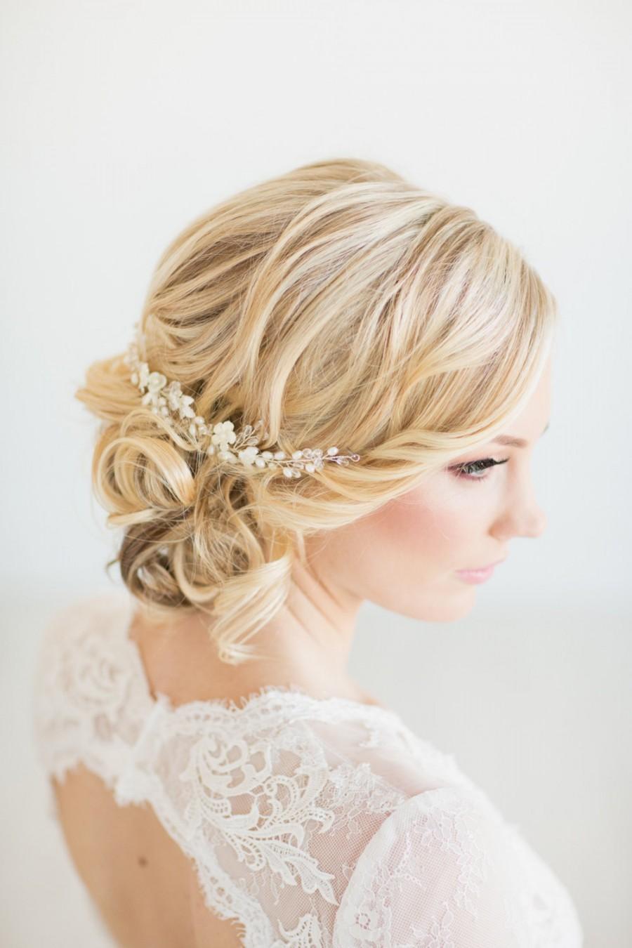 Mariage - Wedding Hair Vine,  Gold Bridal Headpiece, Bridal Hair Accessory, Pearl Hair Vine, Wedding Hairpiece
