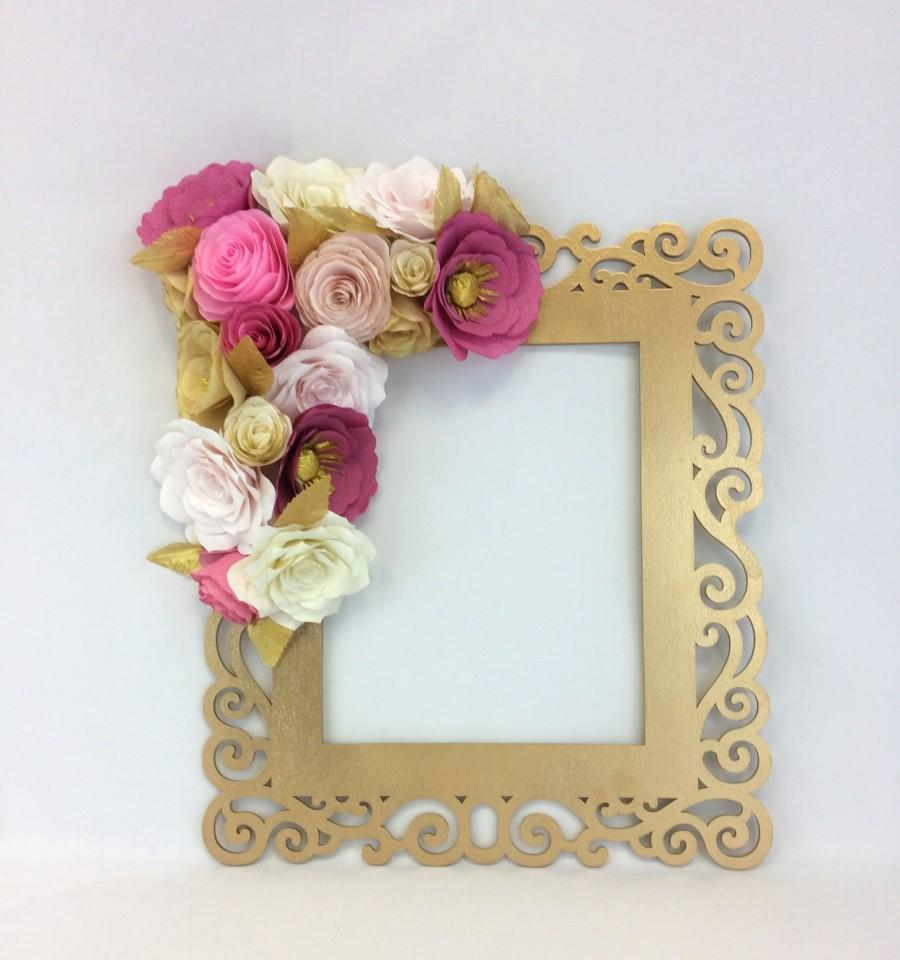 Floral Frame, Photo Prop, 3D Flower Wall Art, Paper Flower Wall Decor, Gold  U0026 Coral Flower Frame, Wedding Photo Prop, Party Photo Frame   $58.00 USD
