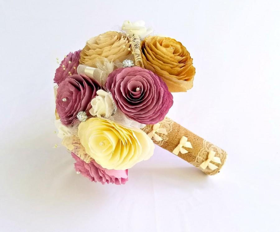 Wedding - Dusty rose and gold paper bouquet