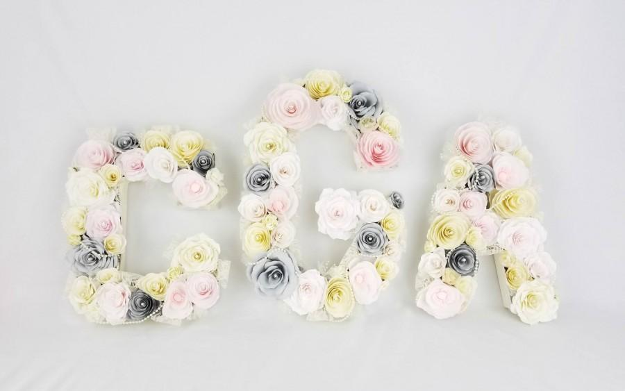Wedding - 3 Paper mache floral Letters in blush, grey and ivory paper flowers, Wedding floral initials, Flower monogram, Paper letter - $258.99 USD
