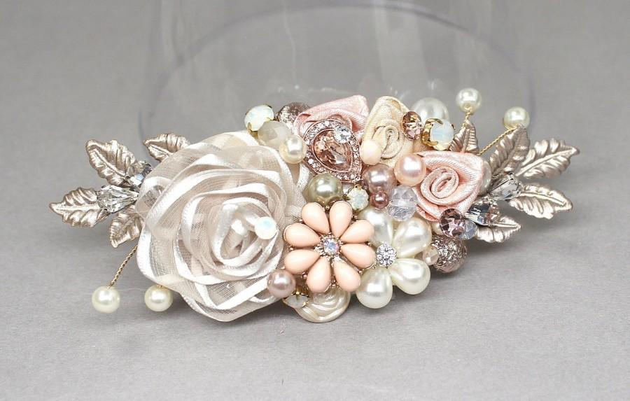 Rose Gold Bridal Comb Rose Gold Hairpiece Bridal Hair Accessories