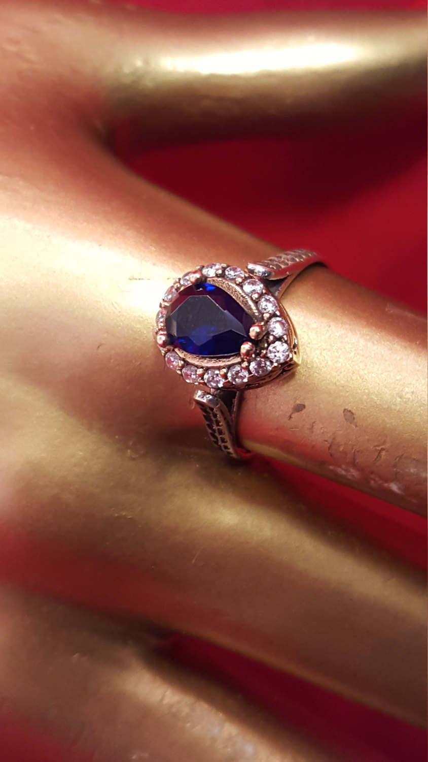 Wedding - Sterling Silver 9.25 Stamped.Genuine Sapphire Gemstone.Handmade ring.Gold over silver. Antique finished.Bridal Gifts.Wedding Jewelry.R-351