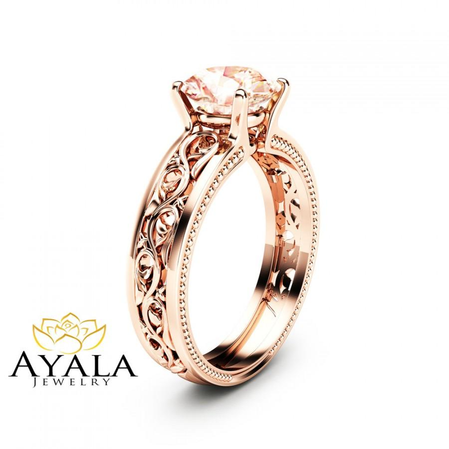 Свадьба - 1.5ct Morganite Engagement Ring 14K Rose Gold Morganite Ring Unique Filigree Engagement Ring