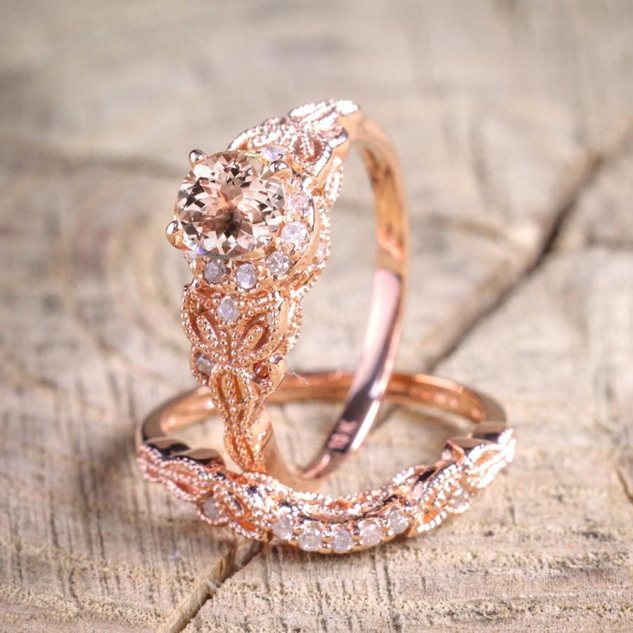 Wedding - Limited Time Sale 1.50 carat Round Cut Morganite and Diamond Halo Bridal Wedding Ring Set in Rose Gold: Bestselling Design Under Dollar 400