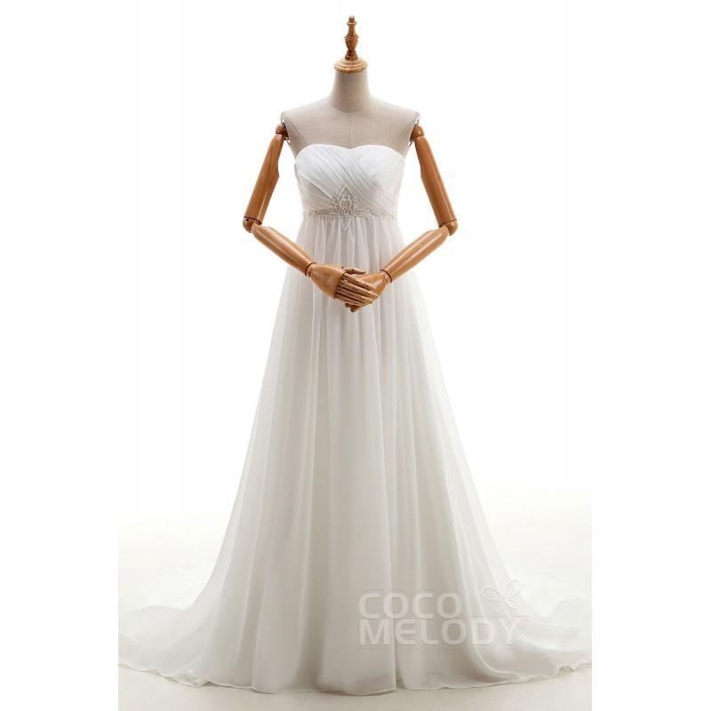Mariage - Noble Sheath-Column Sweetheart Natural Chapel Train Chiffon Ivory Sleeveless Lace Up-Corset Wedding Dress Beading Pleating - Top Designer Wedding Online-Shop