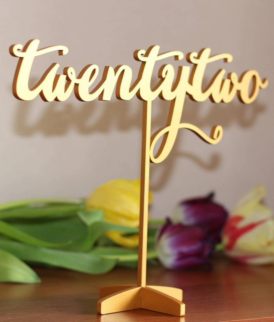 Mariage - Table Numbers for Wedding - Gold Table Numbers - Freestanding with base - Wedding Table Number- Table Numbers - Freestanding